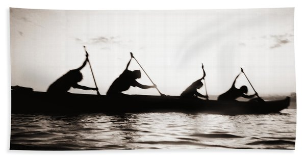 Silhouetted Paddlers Beach Towel