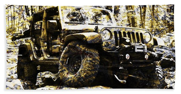 Silver And Gold Jeep Wrangler Jku Beach Towel