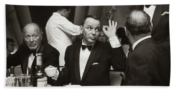 Sinatra And Ed Sullivan At The Eden Roc - Miami - 1964 Beach Towel