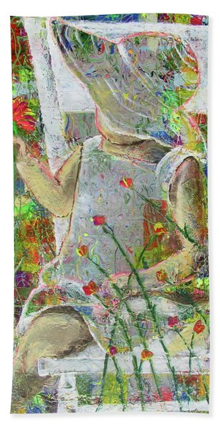 Beach Towel featuring the painting Sitting A Spell... by Jacqueline Athmann