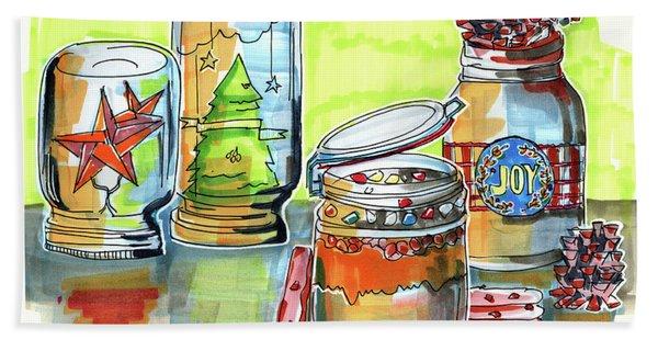 Sketch Of Winter Decorative Jars  Beach Towel