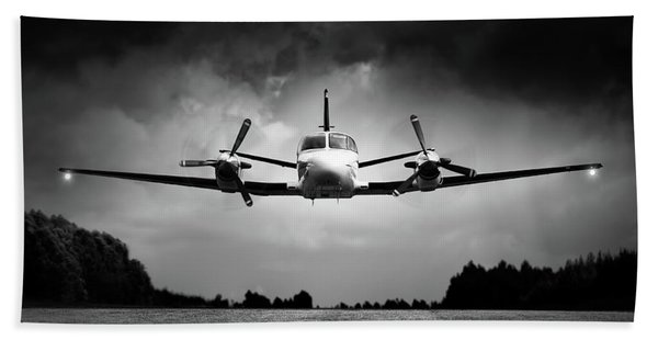 Small Airplane Low Flyby Beach Towel