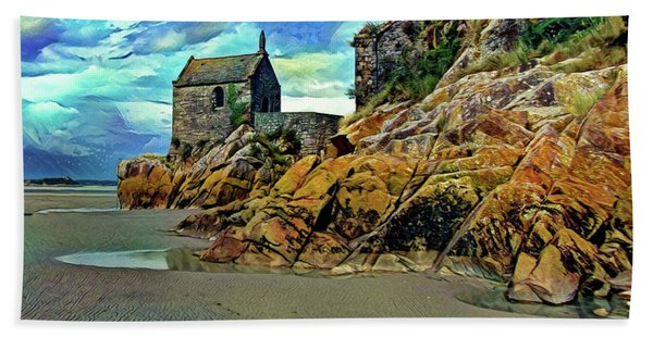 Small Chapel At The Mont Saint Michel Abbey Beach Towel