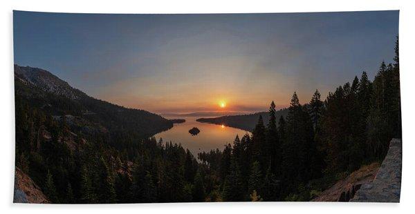 Smokey Sunrise At Emerald Bay Beach Towel