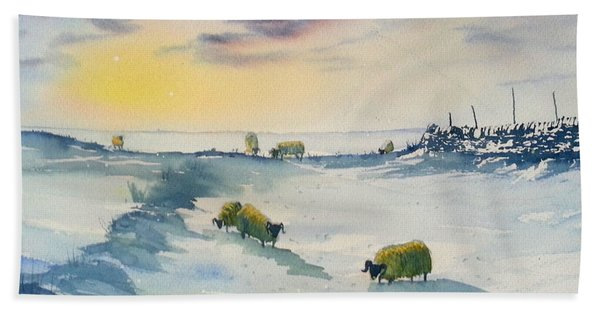 Snow And Sheep On The Moors Beach Towel