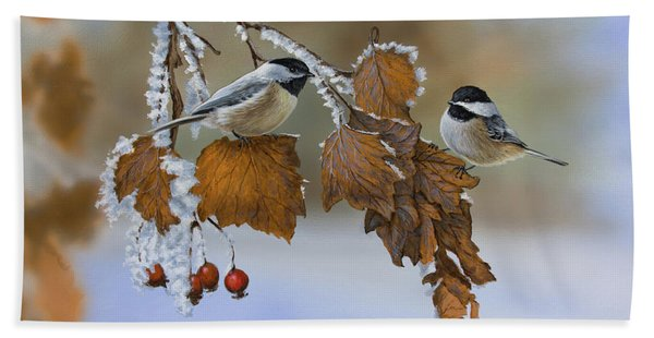 Snow Chickadees Beach Towel