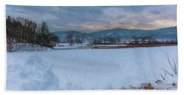 Beach Towel featuring the photograph Snow On The West River by Tom Singleton