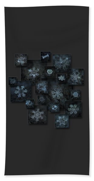 Snowflake Collage - Dark Crystals 2012-2014 Beach Towel