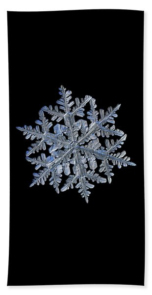 Snowflake Macro Photo - 13 February 2017 - 3 Black Beach Towel