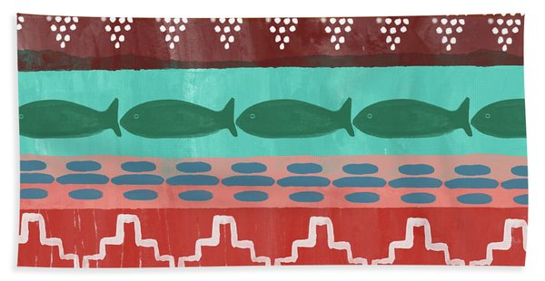 Southwest With Fish- Art By Linda Woods Beach Towel