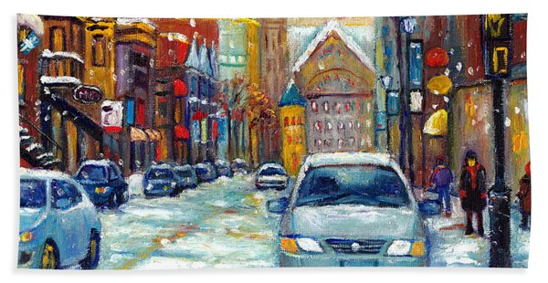 Sparkling Snow Falling On Crescent Street Downtown Montreal Painting For Sale Beach Towel
