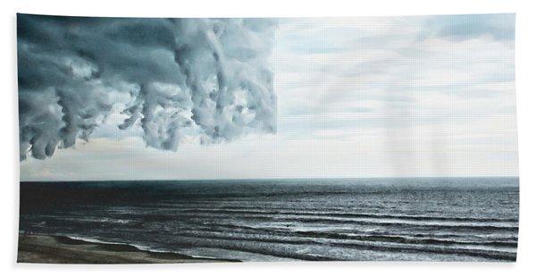 Spiraling Storm Clouds Over Daytona Beach, Florida Beach Sheet