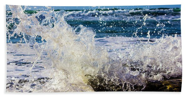 Wave Crash And Splash Beach Towel