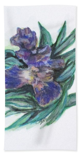 Spring Iris Bloom Beach Towel