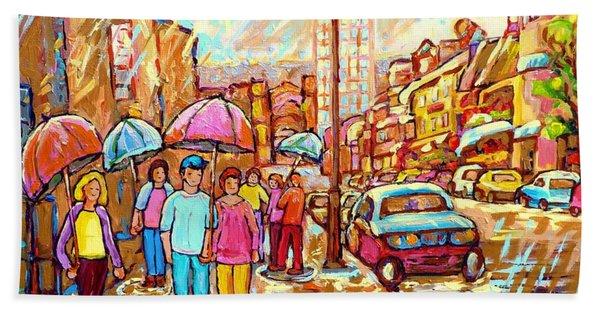 Spring Showers In The City Rainy Umbrella Day Canadian Street Scene Painting Carole Spandau          Beach Towel