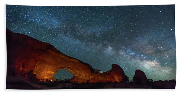 Starry Night At North Window Rock Beach Towel