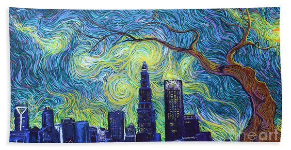 Starry Night Over The Queen City Beach Towel