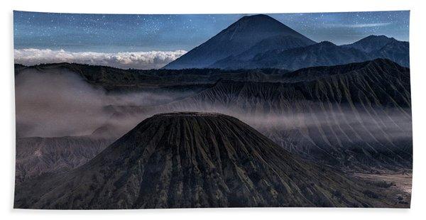 stars over Mount Bromo - Java Beach Towel