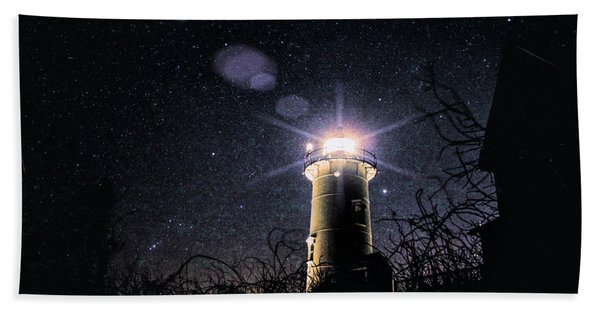 Beach Towel featuring the photograph Stars Over Nobska Lighthouse by Jeff Folger
