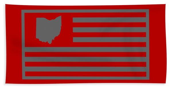 State Of Ohio - American Flag Beach Towel
