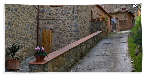 Steep Street In Montalcino Italy Beach Towel