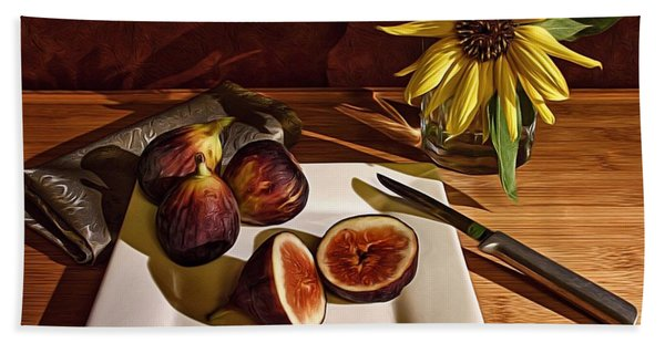 Still Life With Flower And Figs Beach Towel