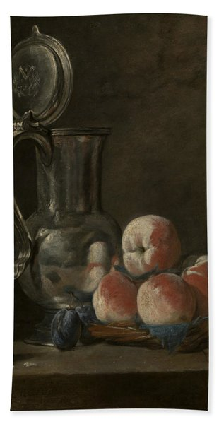 Still Life With Tin Pitcher And Peaches  Beach Towel