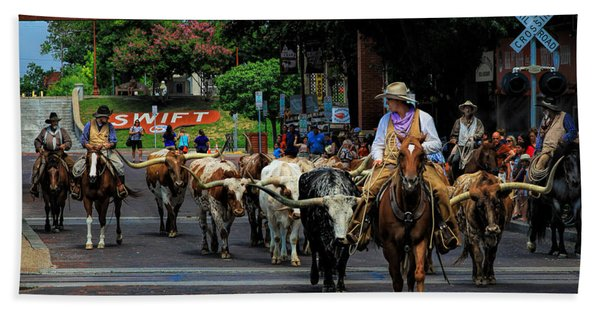 Stockyards Cattle Drive Beach Towel