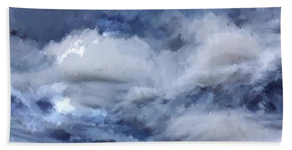 Beach Towel featuring the painting Storm At Sea by Mark Taylor