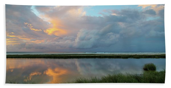 Storm Cloud Reflections At Sunset Beach Towel