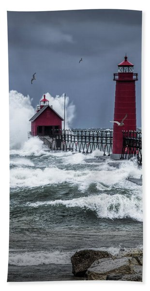 Storm On Lake Michigan By The Grand Haven Lighthouse With Flying Gulls Beach Sheet