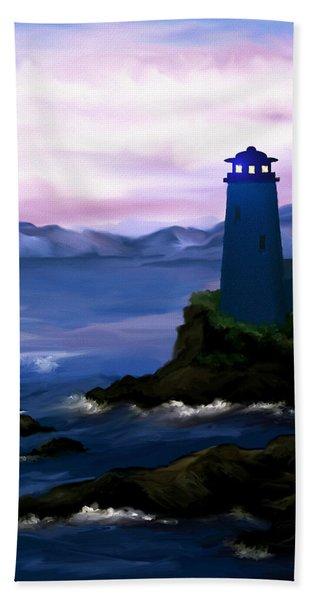 Stormy Blue Night Beach Towel
