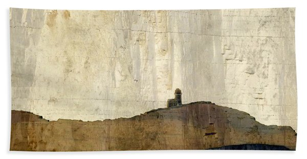 Strata With Lighthouse And Gull Beach Towel