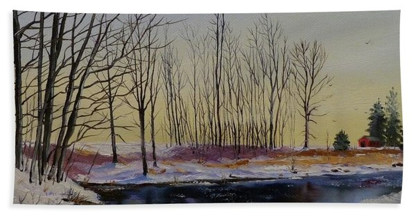 Beach Towel featuring the painting Streamside In Winter by Judy Bradley