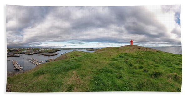 Beach Towel featuring the photograph Stykkisholmur Harbor Pano by Tom Singleton