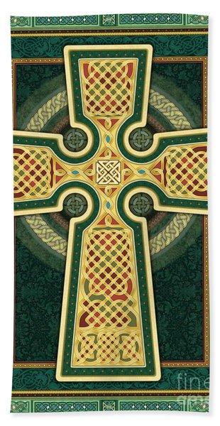 Stylized Celtic Cross In Green Beach Sheet