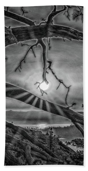 Sun Ornament - Black And White Beach Towel