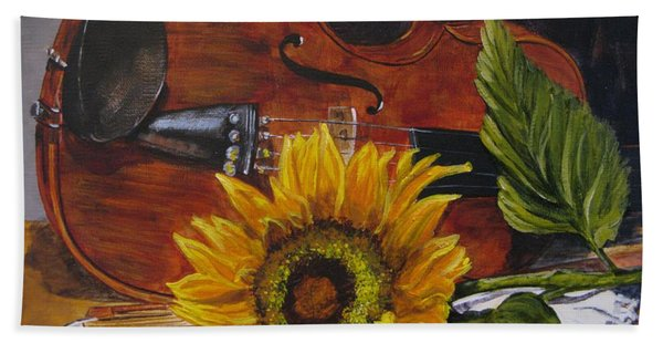 Beach Towel featuring the painting Sunflower And Violin by Judy Bradley