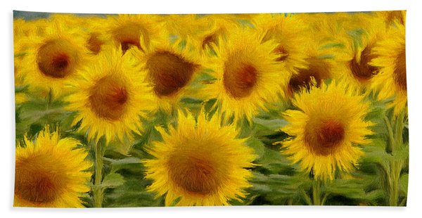 Sunflowers In The Field Beach Towel