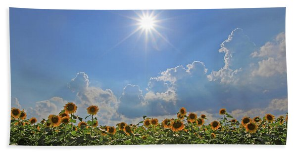 Sunflowers With Sun And Clouds 1 Beach Towel