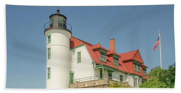 Sunlight On Point Betsie Lighthouse Beach Towel