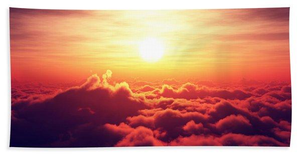 Sunrise Above The Clouds Beach Towel