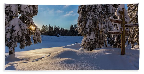 sunrise at the Oderteich, Harz Beach Towel