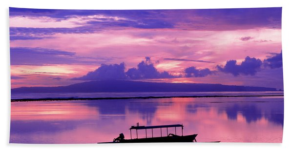Sunrise Balisanur Indonesia Beach Towel