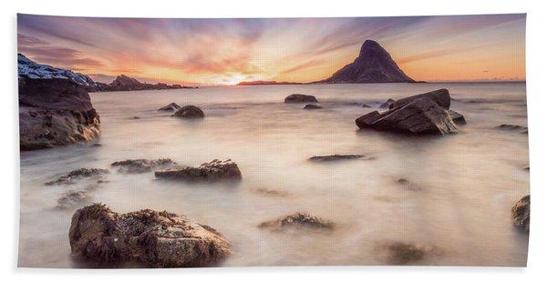 Sunset At Bleik Beach Towel