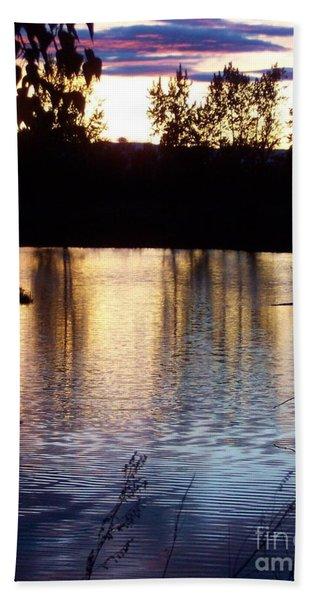 Sunset On River Beach Towel