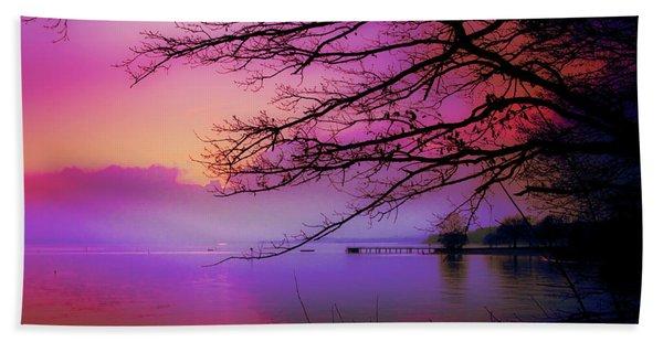 Sunset On The Lake Beach Towel