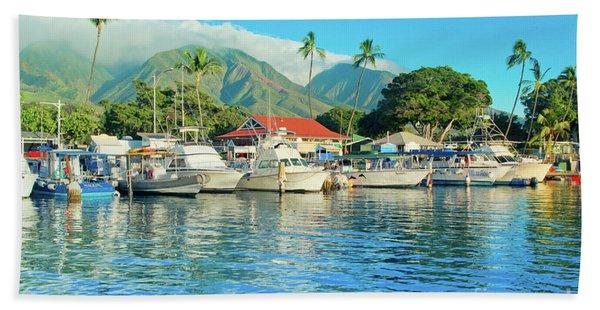 Sunset On The Marina Lahaina Harbour Maui Hawaii Beach Towel