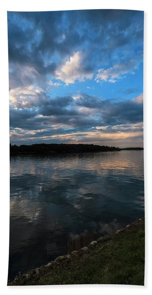 Beach Towel featuring the photograph Sunset On The River by Tom Singleton