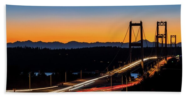 Sunset Over Narrrows Bridge Panorama Beach Sheet